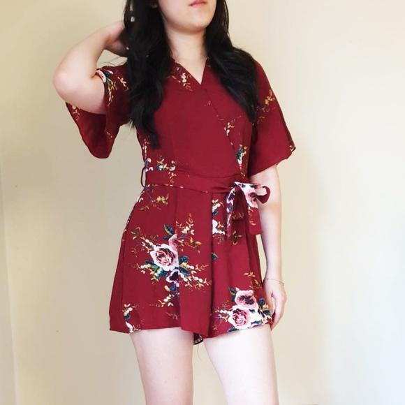 Dresses & Skirts - Floral Print Jumpsuit Maroon
